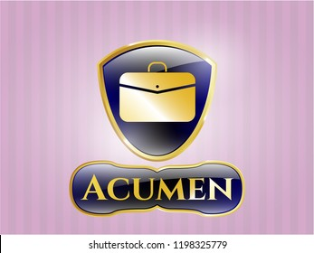 Gold badge or emblem with business briefcase icon and Acumen text inside