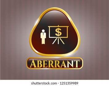 Gold badge or emblem with business presentation icon and Aberrant text inside