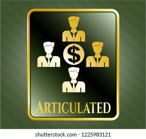 Gold badge or emblem with business teamwork and money icon and Articulated text inside