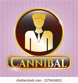 Gold badge or emblem with businessman icon and Cannibal text inside