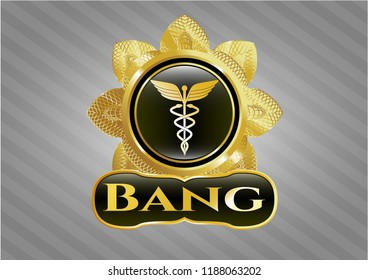 Gold badge or emblem with Caduceus medical icon and Bang text inside
