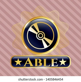 Gold badge or emblem with CD or DVD disc icon and Able text inside