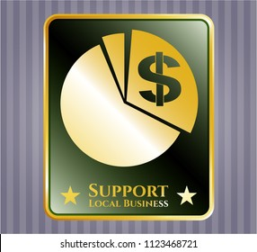 Gold badge or emblem with chart icon and Support Local Business text inside