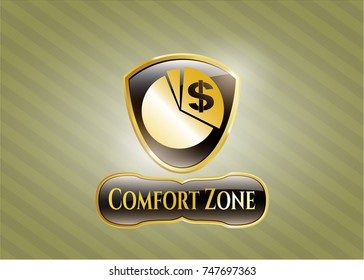 Gold badge or emblem with chart icon and Comfort Zone text inside
