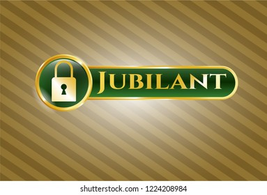 Gold badge or emblem with closed lock icon and Jubilant text inside