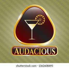 Gold badge or emblem with cocktail glass icon and Audacious text inside