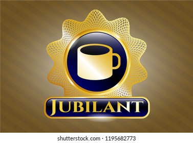 Gold badge or emblem with coffee cup icon and Jubilant text inside