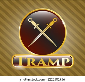 Gold badge or emblem with crossed swords icon and Tramp text inside