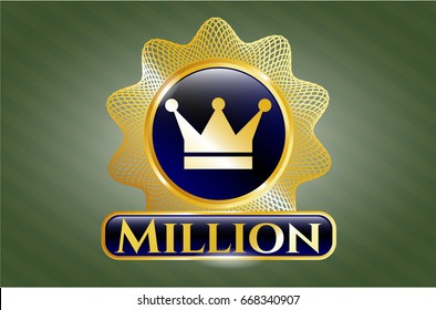 Gold badge or emblem with Crown icon and Million text inside