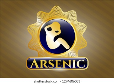 Gold badge or emblem with crunch icon and Arsenic text inside