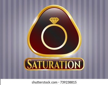 Gold badge or emblem with diamond ring icon and Saturation text inside