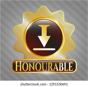 Gold badge or emblem with download icon and Honourable text inside