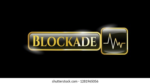 Gold badge or emblem with electrocardiogram icon and Blockade text inside