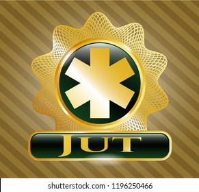 Gold badge or emblem with emergency cross icon and Jut text inside