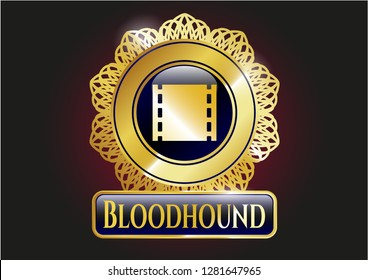 Gold badge or emblem with film icon and Bloodhound text inside