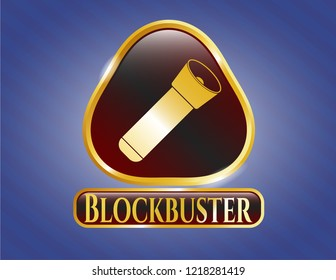 Gold badge or emblem with flashlight icon and Blockbuster text inside
