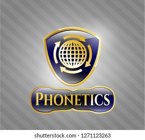 Gold badge or emblem with globalization icon and Phonetics text inside