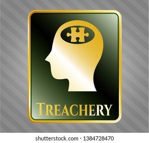 Gold badge or emblem with head with jigsaw puzzle piece icon and Treachery text inside