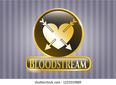 Gold badge or emblem with heart with two arrows icon and Bloodstream text inside
