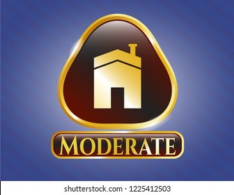 Gold badge or emblem with house icon and Moderate text inside
