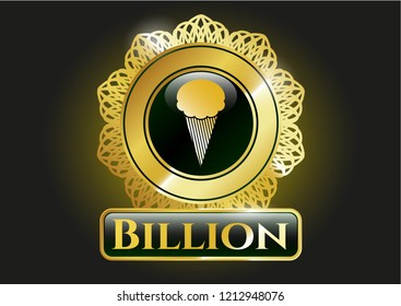 Gold badge or emblem with ice cream icon and Billion text inside