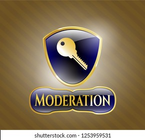 Gold badge or emblem with key icon and Moderation text inside