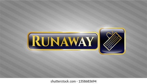 Gold badge or emblem with keyboard icon and Runaway text inside