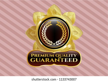 Gold badge or emblem with laurel wreath icon and Premium Quality Guaranteed text inside