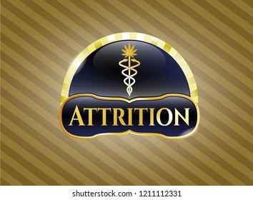Gold badge or emblem with medical marijuana icon and Attrition text inside