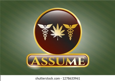 Gold badge or emblem with medicinal weed icon and Assume text inside