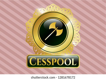 Gold badge or emblem with medieval axe icon and Cesspool text inside