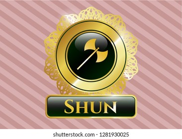 Gold badge or emblem with medieval axe icon and Shun text inside