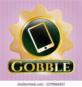 Gold badge or emblem with mobile phone icon and Gobble text inside