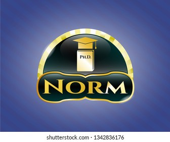 Gold badge or emblem with Phd thesis icon and Norm text inside