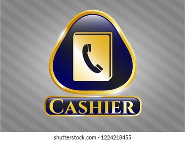 Gold badge or emblem with phonebook icon and Cashier text inside