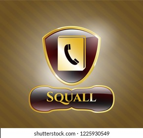Gold badge or emblem with phonebook icon and Squall text inside