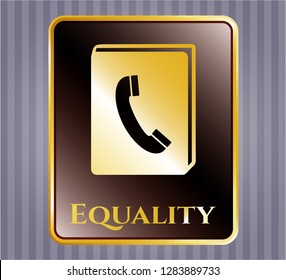 Gold badge or emblem with phonebook icon and Equality text inside