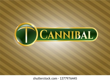 Gold badge or emblem with pickaxe icon and Cannibal text inside
