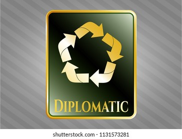 Gold badge or emblem with recycle icon and Diplomatic text inside