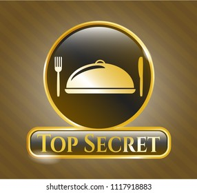 Gold badge or emblem with special food icon and Top Secret text inside