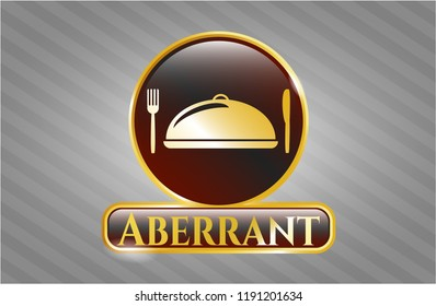 Gold badge or emblem with special food icon and Aberrant text inside