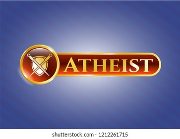 Gold badge or emblem with swords crossed with shield icon and Atheist text inside