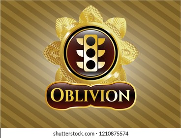 Gold badge or emblem with traffic light icon and Oblivion text inside