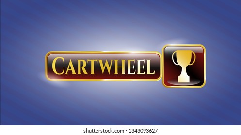 Gold badge or emblem with trophy icon and Cartwheel text inside