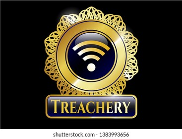 Gold badge or emblem with wifi signal icon and Treachery text inside