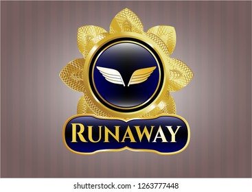 Gold badge or emblem with wings icon and Runaway text inside