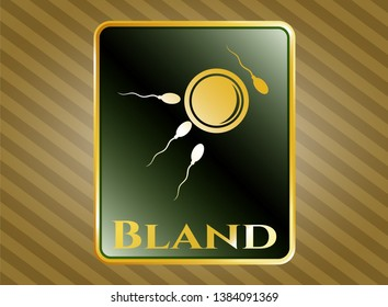 Gold badge with fertilization icon and Bland text inside
