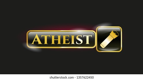 Gold badge with flashlight icon and Atheist text inside