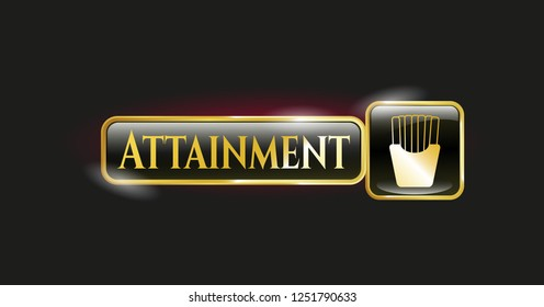 Gold badge with fries icon and Attainment text inside