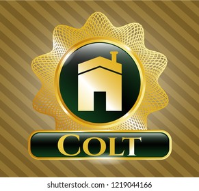 Gold badge with house icon and Colt text inside